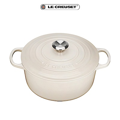 LE CREUSET琺瑯鑄鐵典藏圓鍋24cm-奶油白-鋼頭