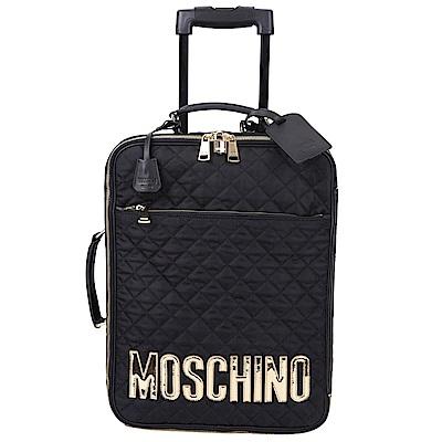 MOSCHINO 菱格車縫設計行李箱(黑色)