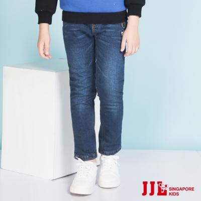 JJLKIDS 國旗徽章舒適柔綿內刷毛牛仔褲(牛仔藍)