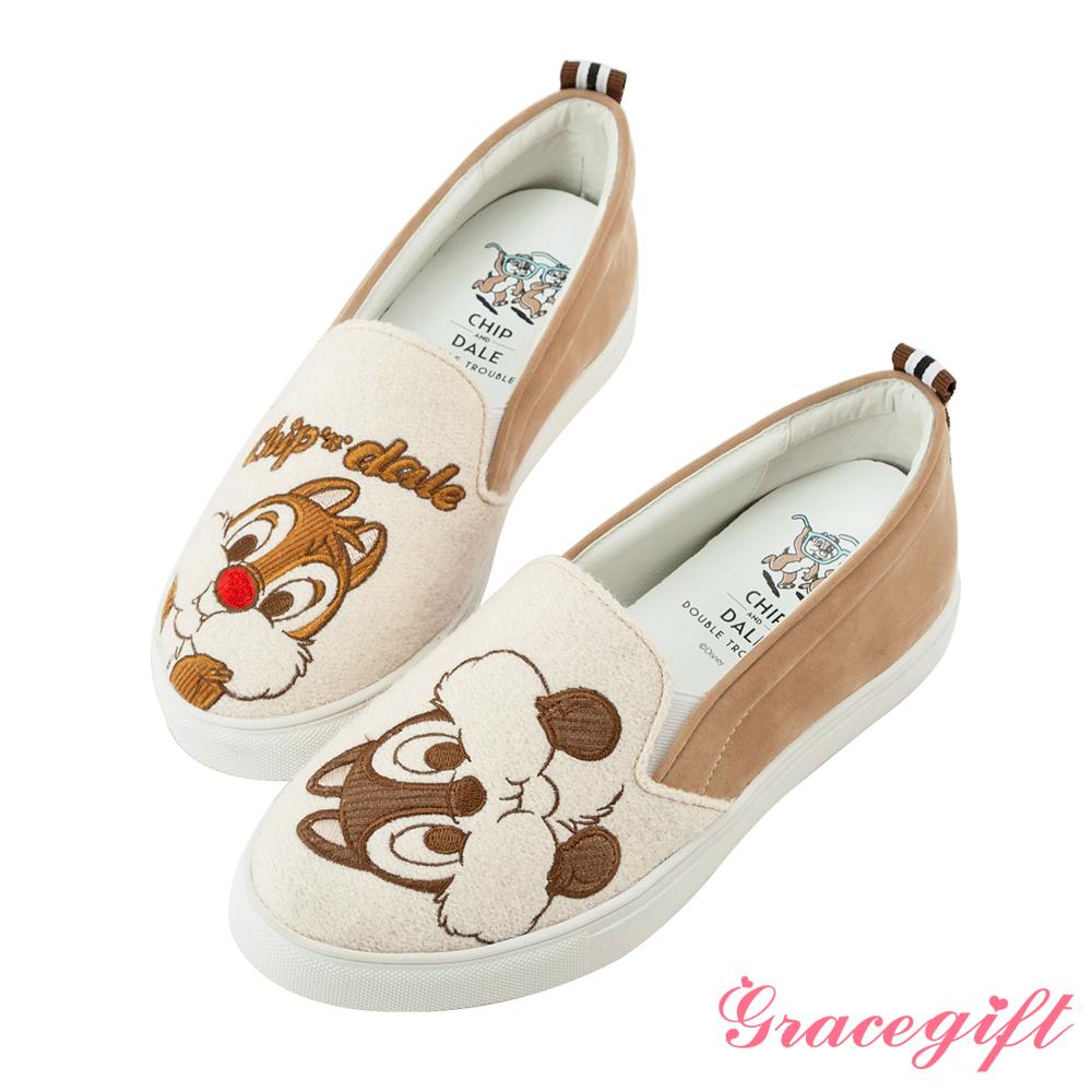 Disney collection by grace gift拼接電繡內增高懶人鞋杏