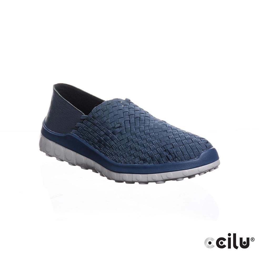 CCILU 編織平底休閒鞋-男款-301260097藍色