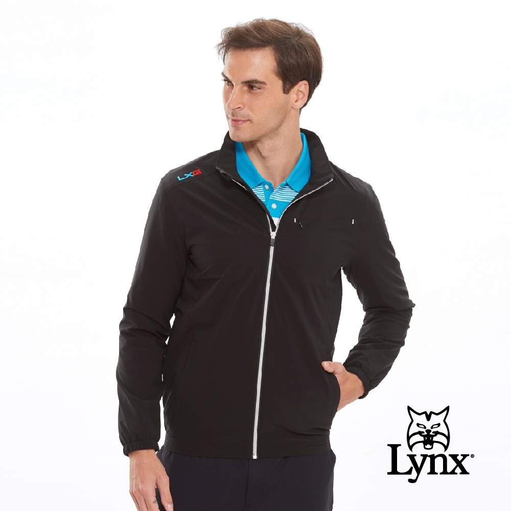 【Lynx Golf】男款防潑水隱形拉鍊胸袋設計長袖薄外套-黑色