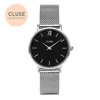 【公司貨】CLUSE Minuit 午夜不鏽鋼系列腕錶 (銀框/黑錶面/銀錶帶)