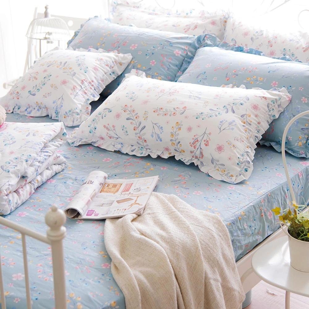 OLIVIA  VIVIEN 標準雙人床包荷葉枕套三件組 200織精梳純棉 台灣製