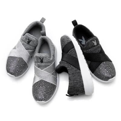 【時時樂限定】PLAYBOY亮鑽交叉繃帶休閒鞋-兩色