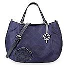 CLATHAS 山茶花吊飾菱格紋尼龍兩用南瓜包-藍紫色