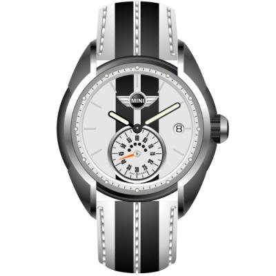 MINI Swiss Watches 石英錶 38mm 白黑小秒針錶面 白黑條紋真皮錶帶