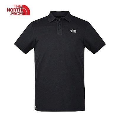 The North Face北面男款黑色透氣休閒短袖POLO衫|3VRAJK3