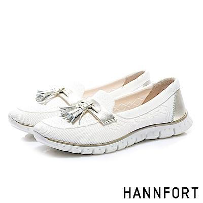 HANNFORT ZERO GRAVITY 牛皮流蘇淺口休閒鞋-女-白