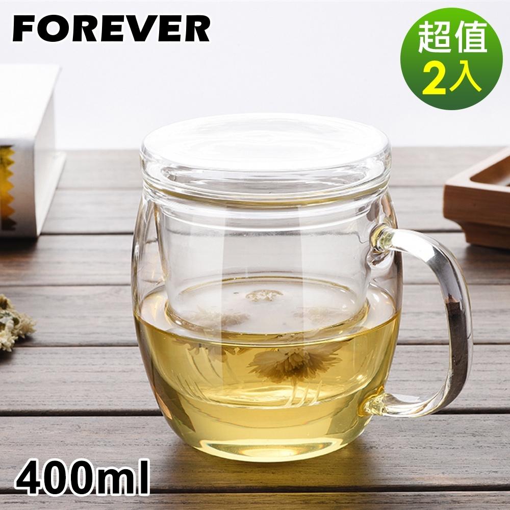 日本FOREVER 耐熱玻璃把手馬克杯/茶具-2入組(附玻璃濾網)400ML