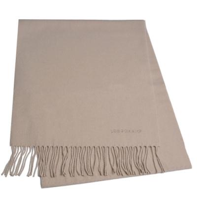 LONGCHAMP 蘇格蘭製品牌字母刺繡LOGO混喀什米爾羊毛圍巾/披肩(淺駝)