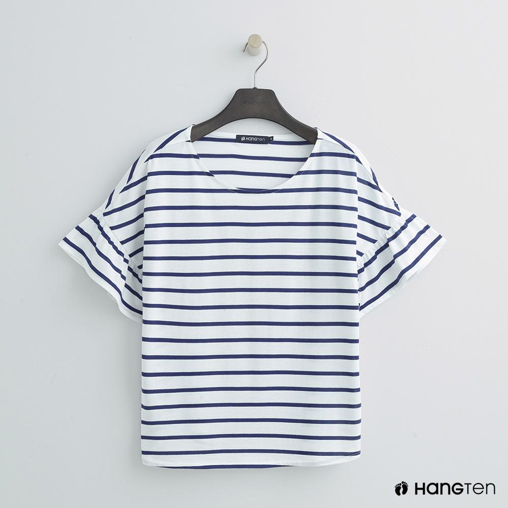 Hang Ten - 女裝 - 氣質荷葉袖簡約上衣 - 藍白條