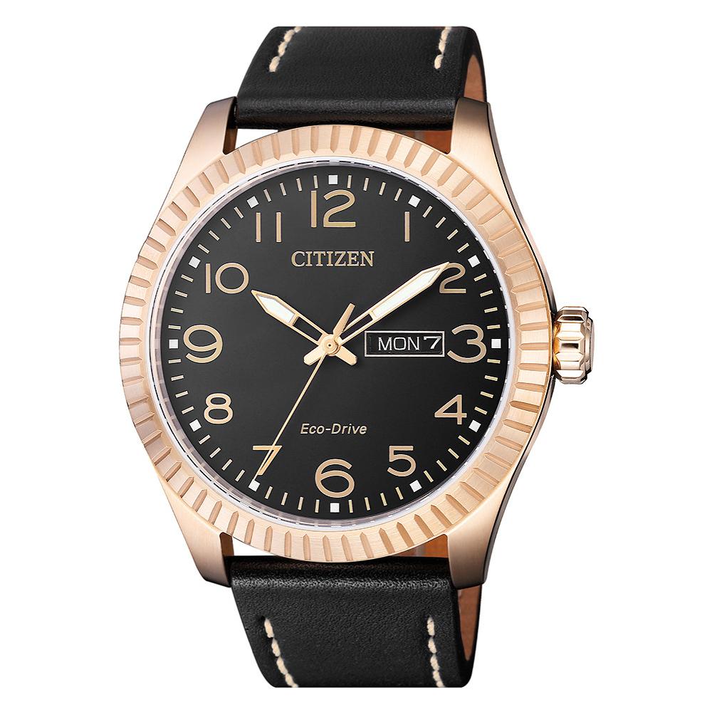CITIZEN 星辰光動能簡約時尚真皮手錶(BM8533-13E)-黑X玫瑰金框/42mm