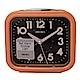 SEIKO 精工 流線方型靜音夜光貪睡鬧鐘-橘框黑面 product thumbnail 1