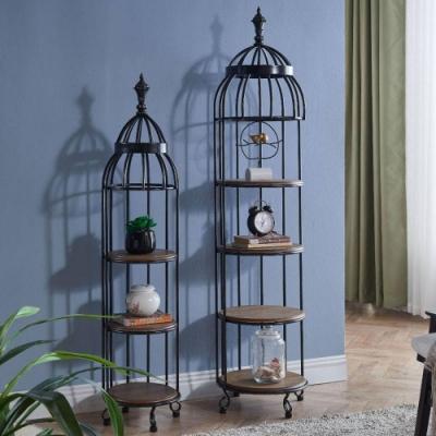 Asllie卡洛琳小鳥籠圓型置物架/角落架/收納架/書架/展示架-32x32x143cm