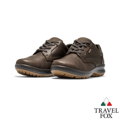 TRAVEL FOX(男)亞力斯全牛皮綁帶減壓休閒鞋 - 深咖