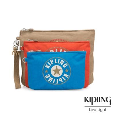 Kipling 復古卡其撞色大LOGO多袋實用配件包-IAKA L WRISTLET