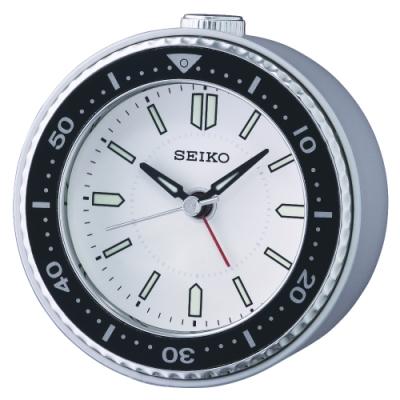 SEIKO 日本精工 白水鬼 滑動式秒針 貪睡 鬧鐘(QHE184J)白/9.5X9.4cm