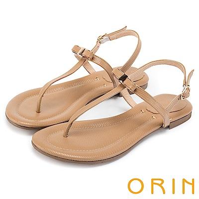 ORIN 夏日風情 細緻典雅T字牛皮夾腳涼鞋-棕色