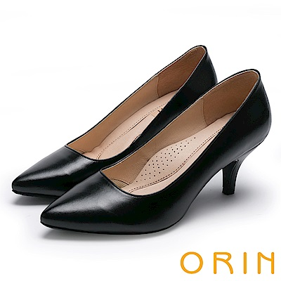 ORIN 時尚OL 簡約剪裁真皮素面高跟鞋-黑色