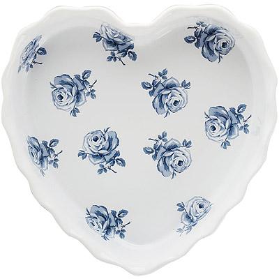 CreativeTops Katie復古藍心型陶製烤盤(白23cm)