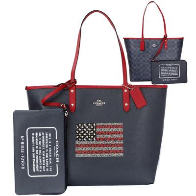 COACH午夜藍花紋美國旗雙面使用肩背購物托特包(大)