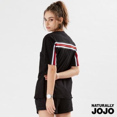 【NATURALLY JOJO】  紐約配色針織條上衣   (黑)