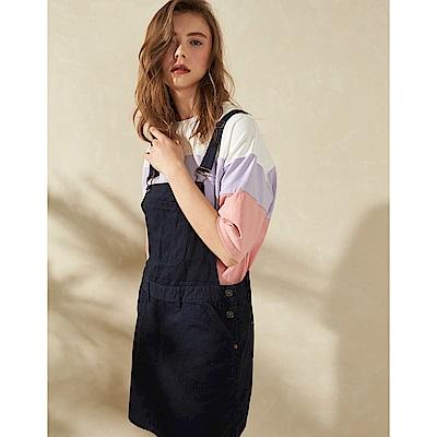【時時樂限定】CACO-斜紋吊帶短裙(兩色)