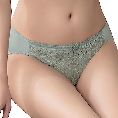 思薇爾 沁涼Bra系列M-XL蕾絲低腰三角內褲(灰霧綠)
