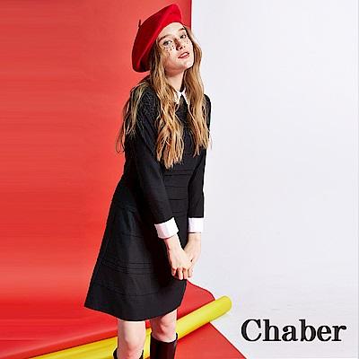 Chaber巧帛 襯衫領拼接羊毛造型洋裝