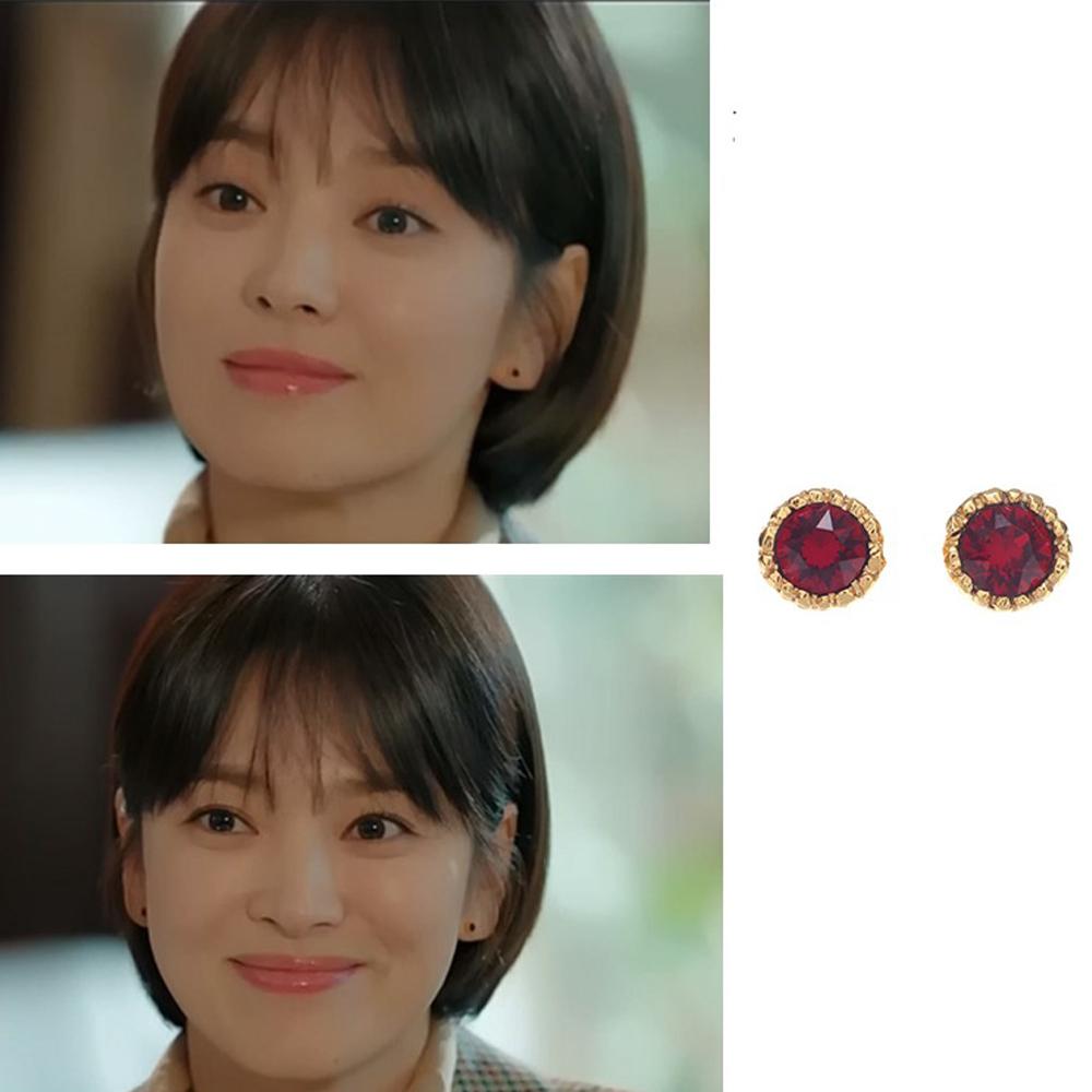 梨花HANA  韓劇宋慧喬男朋友S925銀針第3集紅色金邊寶石耳環