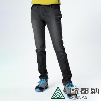 【ATUNAS歐都納】女款微刷毛保暖牛仔風格休閒長褲A-PA1328W黑/大尺碼