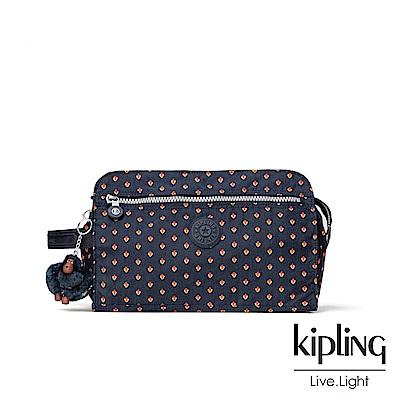 Kipling紅黃幾何印花手拿包