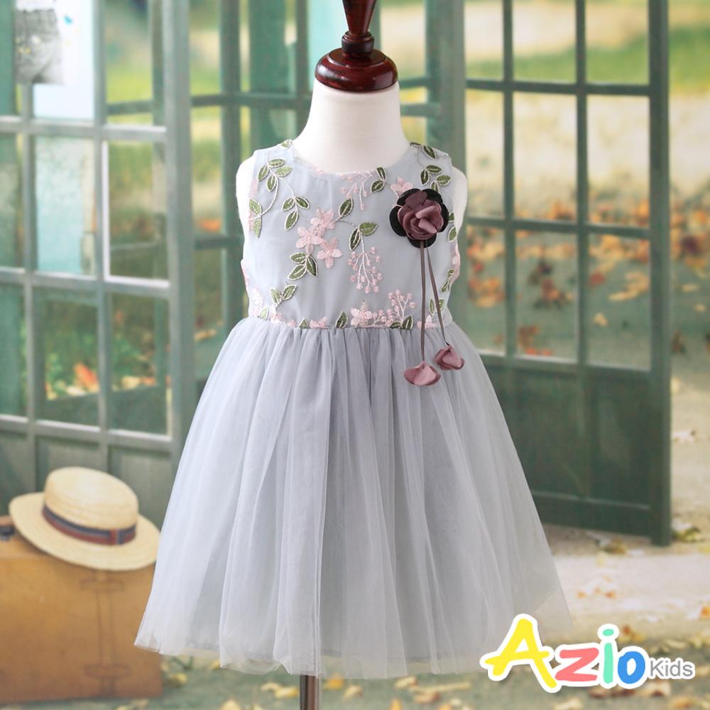 Azio Kids 洋裝 網紗花朵葉子刺繡無袖洋裝(藍)