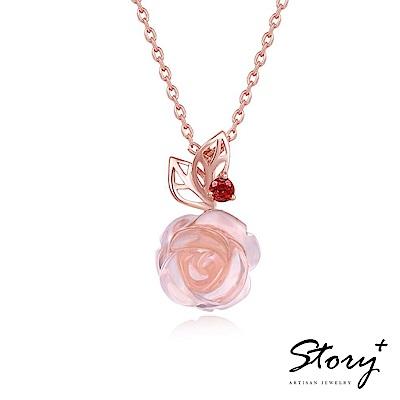 STORY故事銀飾 芙蓉美人 天然粉水晶純銀項鍊