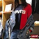 Levis 女款 大學T Oversize 寬鬆版型 藍紅撞色 字母Logo