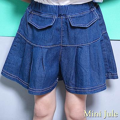 Mini Jule 褲裙 百褶壓縫假口袋鬆緊牛仔短褲(深藍)
