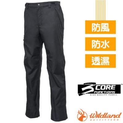 荒野 中性款 -20℃ 防水防風透氣保暖機能長褲/雪褲_黑色 V
