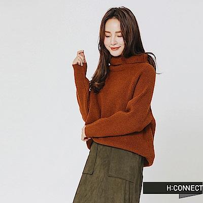 H:CONNECT 韓國品牌 女裝-翻領坑條針織上衣-卡其