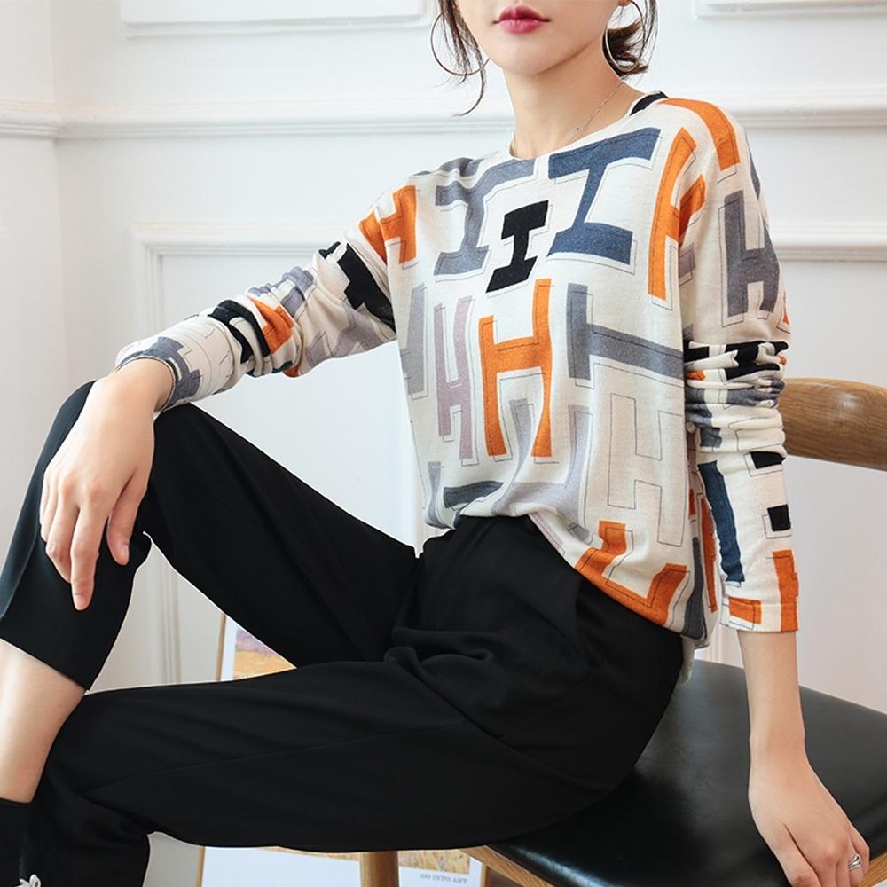 艾米蘭-韓版字母排列造型上衣-白底花色(M-L)