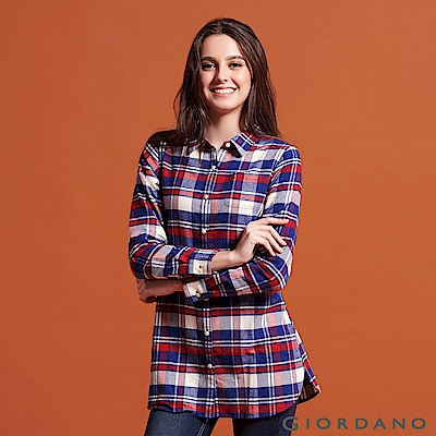 GIORDANO 女裝純棉法蘭絨長版襯衫-32 紅/藍/奶油格子