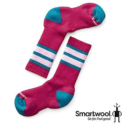 SmartWool 孩童健行中級避震條紋中長襪 魔藥紅