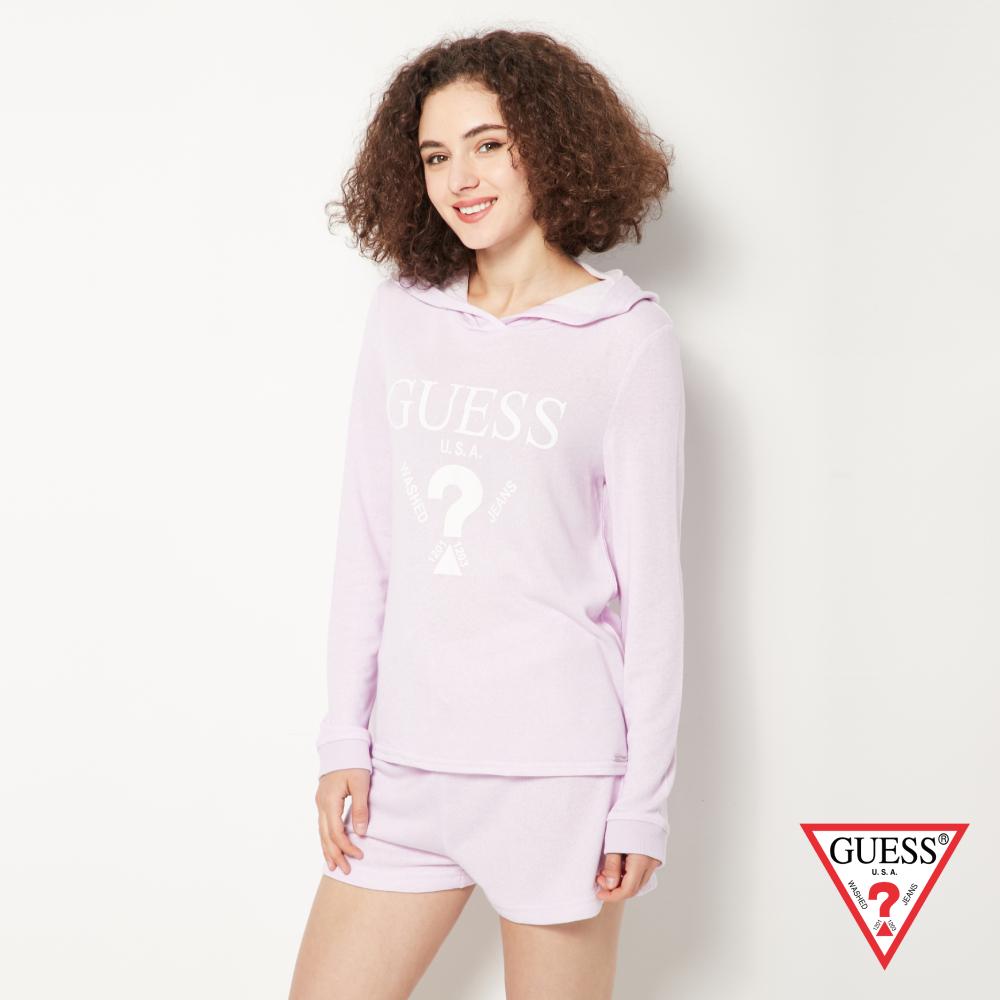 GUESS-女裝-經典倒三角LOGO休閒帽T短褲套裝-紫 原價2990