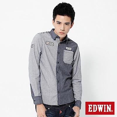 EDWIN 江戶勝剪接造型襯衫-男-藍色