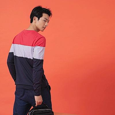 韓版高含棉時尚拼接撞色條紋衛衣上衣-OB大尺碼