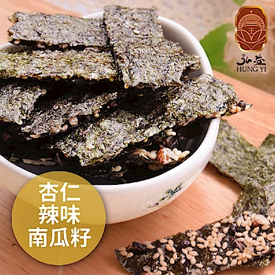 弘益傳香世家‧海苔脆片-杏仁+辣味+南瓜子(40g/包,共三包)