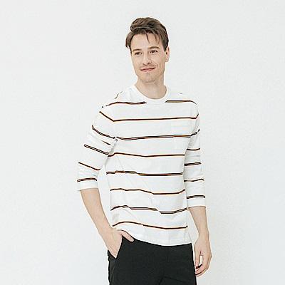 Hang Ten - 男裝 - 雙色細條紋圓領上衣-白色