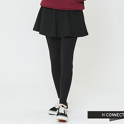 H:CONNECT 韓國品牌 女裝-假兩件式舒適感褲裙-黑