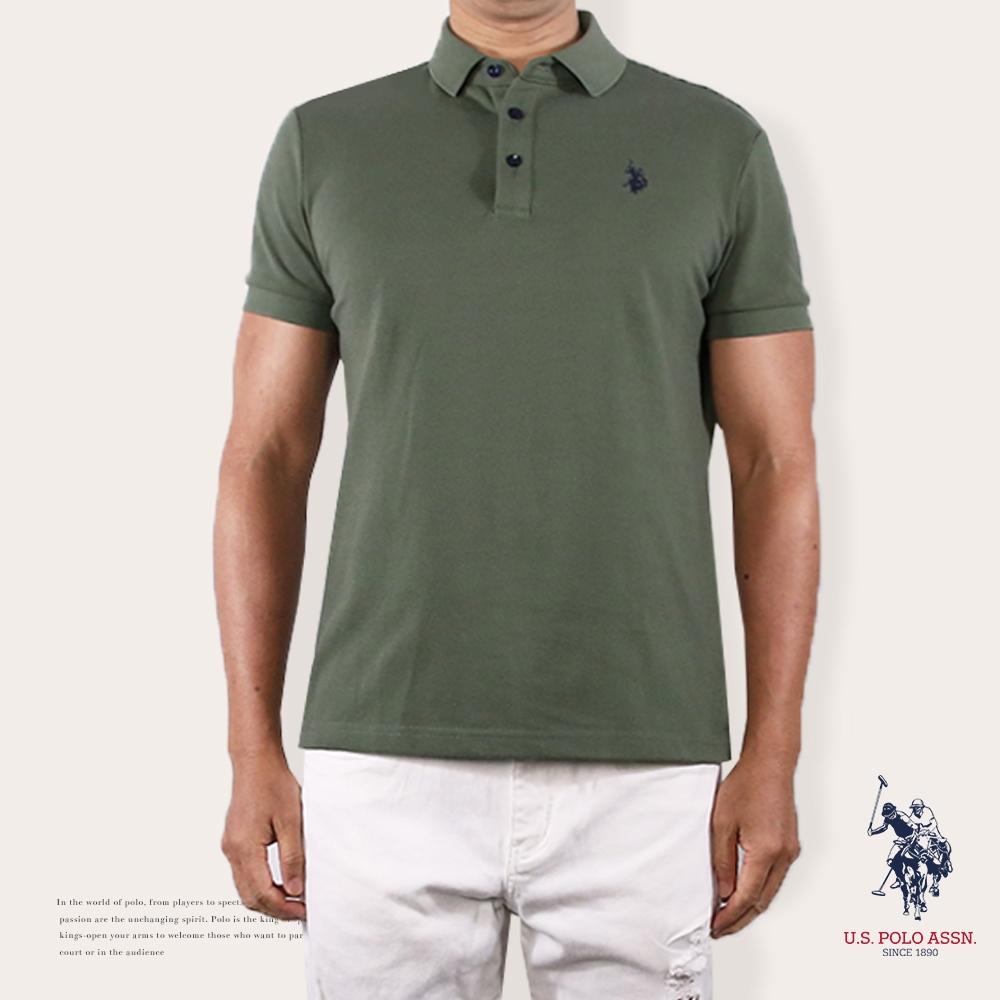 U.S. POLO ASSN. 簡約小馬短袖POLO衫-軍綠色