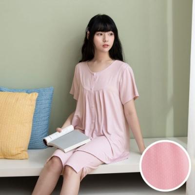 華歌爾睡衣-睡眠研究所 M-LL短袖家居七分褲裝(粉) 冰涼紗